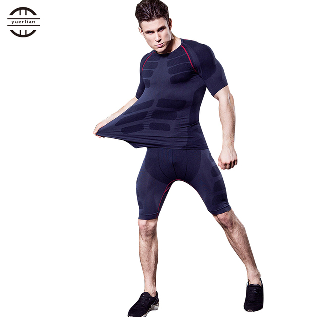 Yel New Quick Dry Compression Tracksuit For Men Fitness Tights Sportsman Wear Short Gym Tshirt Shorts Costumes Men'S Sport Suit