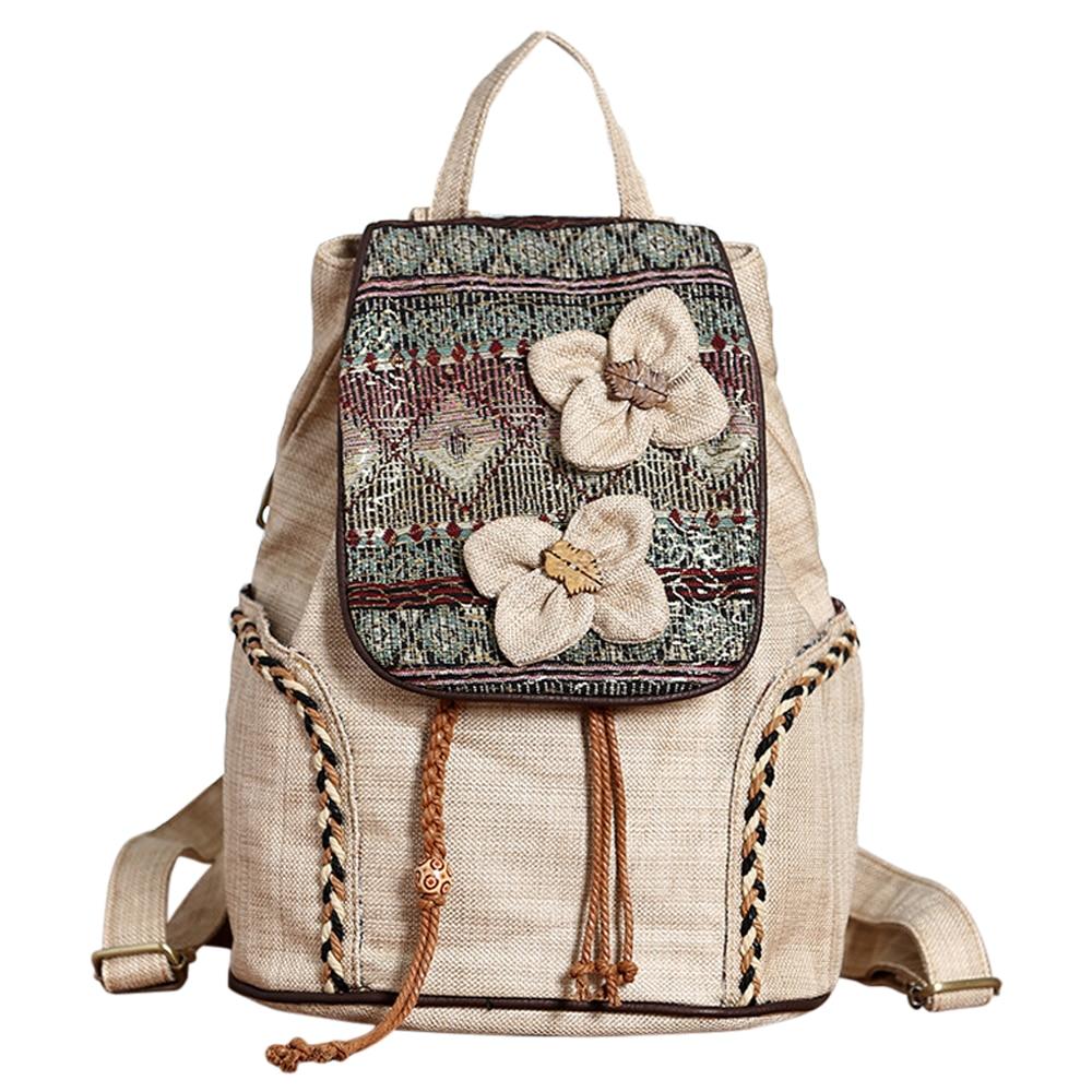 Coofit Retro Flowers Female Backpack National Beaded Weave Women Bagpack Vintage Canvas Backpack Schoolbag For Teenager Girls