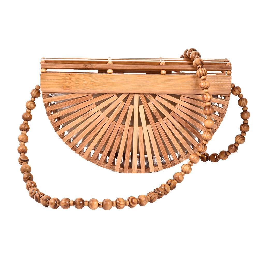 Half Moon Bamboo Handbag ladies Beach Bag Handmade Bamboo Purse Clutch Tote US