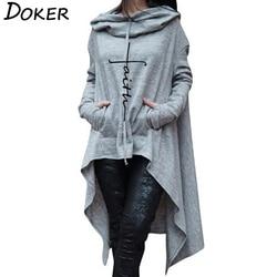 2018 New Faith Letter Embroidered Long Hoodies Women Long Sleeve Irregular Hem Pocket Sweatshirt Female Plus Size Pullover Tops 1