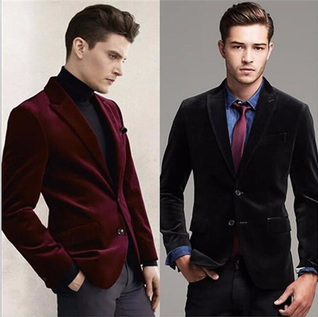 Men Suits Slim Fit Black Red Velvet Blazer Groom Tuxedos Casual Style Mens  Wedding Party Suits f23a2b14d