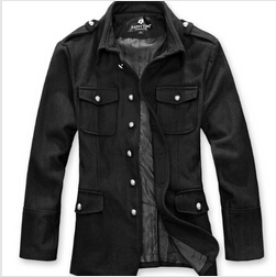 Man's Fashion Slim fitted Woolen Coat Men's Buttons Designer military Cotton Jackets Outwear