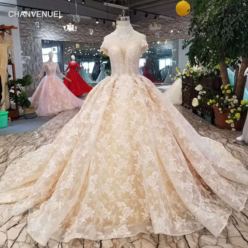e282b6fb27200 ... champagne lace wedding dresses luxury beaded collar chain off the shoulder  sweetheart flowers wedding gown long train on Aliexpress.com