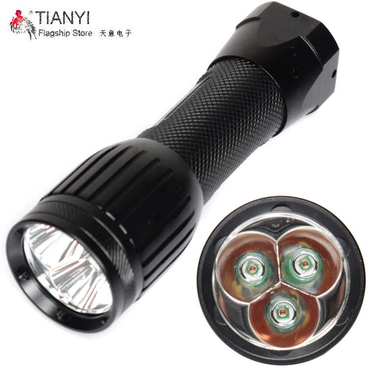 LED outdoor camping lights 2000LM Flashlight 3x XPE Red LED single-mode Waterproof LED Flashlight Portable Light use 26650 torch