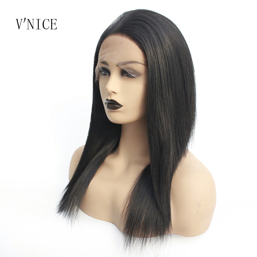 Pelucas afro americanas Bob medio m longitud del hombro negro #1 Color recto sintético de encaje frontal pelucas para mujeres negras Cosplay-in Pelucas sintéticas sin encaje from Extensiones de cabello y pelucas on AliExpress - 11.11_Double 11_Singles' Day 1