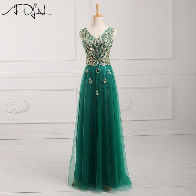 Adln 2017 turquesa de la manera vestidos de noche del v-cuello apliques robe de soirée mangas de tul longitud del piso vestido de noche formal