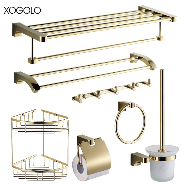 Xogolo Wholesale And Retail Solid Brass Gold Bath Hardware Sets Accessories Wall Mounted Bathroom Shelf Towel Paper Holder Rack xogolo antique solid brass wall mounted bath towel rack wholesale and retail towel shelf double layer towel hanger accessories