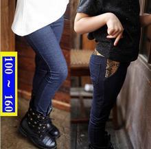 Imitated Denim Leggings On Girl  Autumn Sequins Legging Fille Hiver Chaud Add Wool Korean Girls  Elastic Pants Solid Color