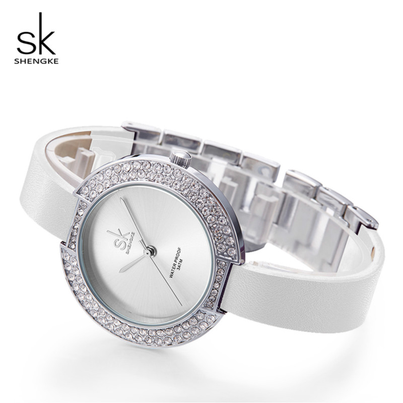 Shengke Armbandsur Kvinnor Luxury Crystal Ladies Quartz Watch Reloj Mujer 2019 SK Mode Läder Kvinnor Armbandsur Klockor # K0030L