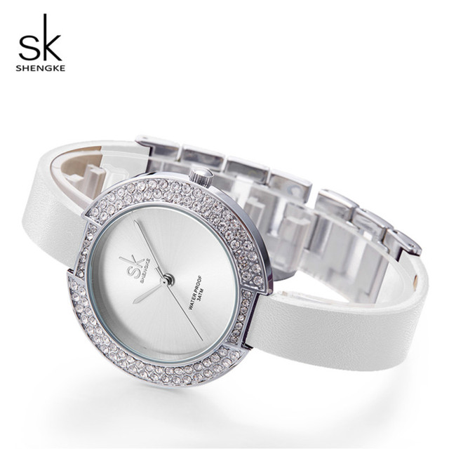 20a026647 Shengke Wrist Watch Women Luxury Crystal Ladies Quartz Watch Reloj Mujer  2019 SK Fashion Leather Women Bracelet Watches #K0030L