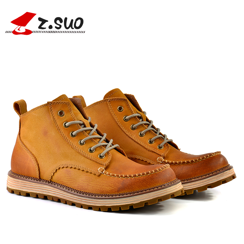 Z.Suo Original 2017 Men's Genuine Cow Leather Boots Man England Retro Tooling Cowboy Boots Outdoor Casual High Top Shoes ZS16011