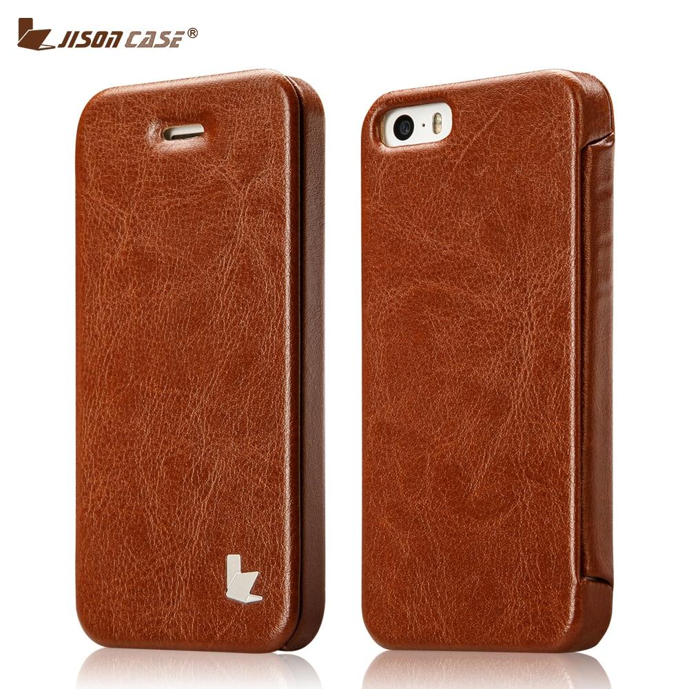 Цена за Jisoncase Смарт откидная крышка для iPhone 5 5S SE 6 6S Чехол кожаный магнит принципиально телефона чехол для Iphone 7 7 плюс 6 6S плюс Капа
