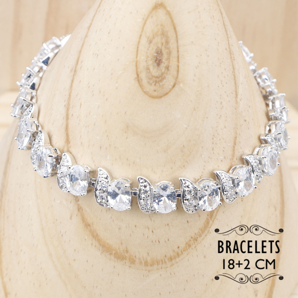 Women Costume Freshwater Natural Pearl Silver Color Jewelry Sets White Crystal Bracelet Pendant&Necklace Ring Earrings Gift Box