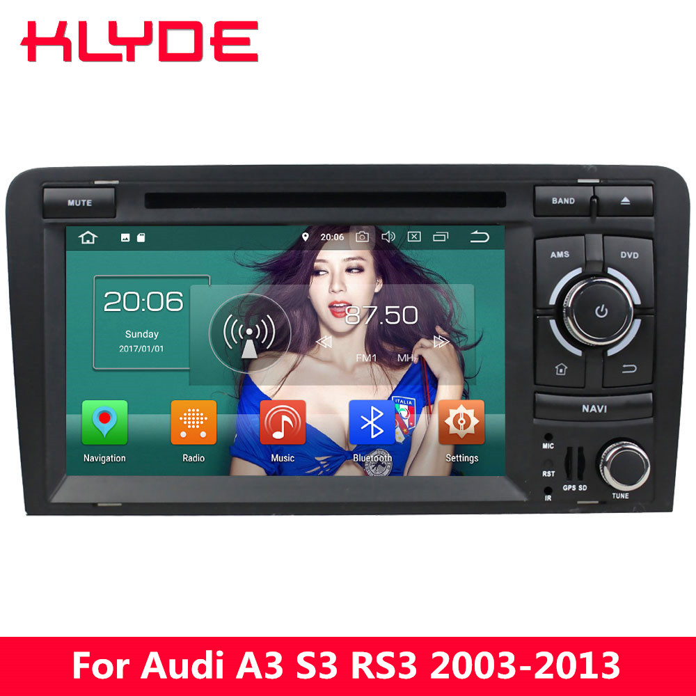 KLYDE 4G Android 8.0 Octa Core 4GB+32GB Car DVD Player For Audi A3 S3 RS3 2003 2004 2005 2006 2007 2008 2009 2010 2011 2012 2013
