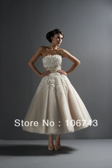 A-line free Shipping Sexy Brides Custom lace Appliques custom ankle length bridal gown 2018 robe de mariee   bridesmaid     dresses