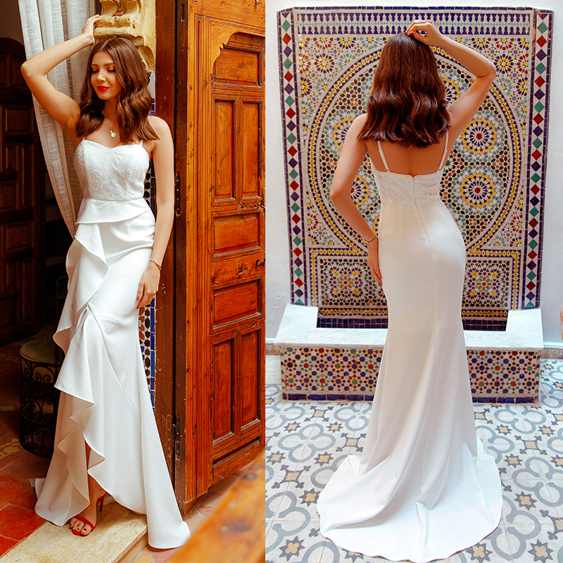 2019 Wedding Dresses Ever Pretty EP07232 Women's Fashion Simple Backless Lace Cheap Long Bridal Gowns Vestido De Noiva