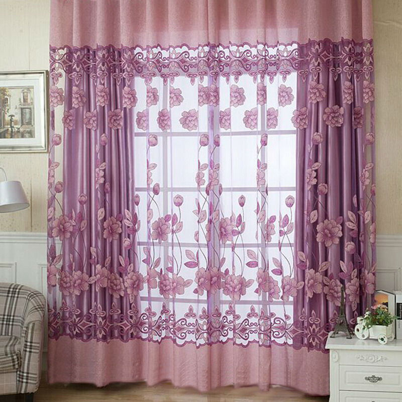 2016 New Modern Floral Sheer Tulle Voile Door Window Curtain Panel