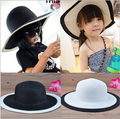 2016 New Baby Girls Wide Brim Hat Floppy Derby Hat Large Summer Beach Sun Straw Hat Cap