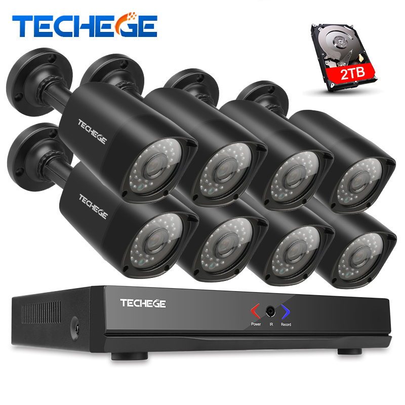 Techege 8CH NVR 48V POE 1080P CCTV System Onvif P2P 2MP HD IP camera Outdoor Waterproof Motion Detection Security Camera System techege h 265 security surveillance kits 8ch 4k 48v poe nvr 4mp 2 8 12mm zoom lens ip camera poe system p2p cloud cctv system