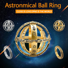 Size 6-11 Women Man Gold Universe Ring Creative Astronomical Sphere Ball Ring Cosmic Couple Lover Constellation Finger Ring Gift high quality astronomical ball cosmic rings gold silver universe constellation finger ring couple lovers creative jewelry gifts