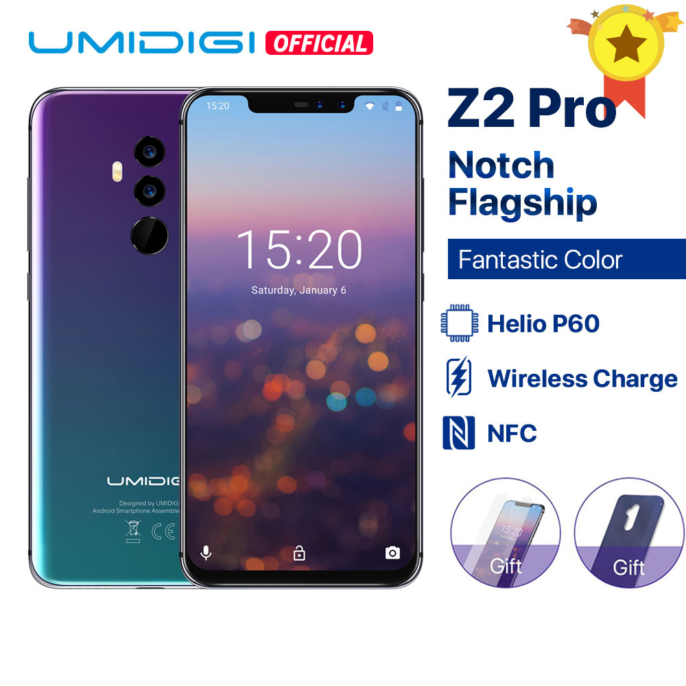 UMIDIGI Z2 Pro 6,2 полноэкранный Смартфон Android 8,1 6 ГБ + 128 Гб Helio P60 16 МП с четырехобъективом 4G LTE NFC Беспроводной зарядный мобильный телефон