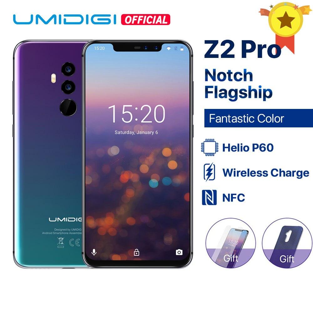 Umidigi-teléfono inteligente Z2 Pro, teléfono móvil con pantalla completa de 6,2 pulgadas, Android 8,1, 6GB RAM, ROM 128GB, procesador Helio P60, cámara Quad de 16.0mp, 4G LTE, soporta carga inalámbrica y NFC