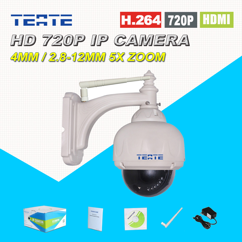 Wireless Outdoor Waterproof Security Dome IP Camera High Definition 720P 5x Optical Zoom 2.8-12mm Lens PTZ IR Cut Support NVR