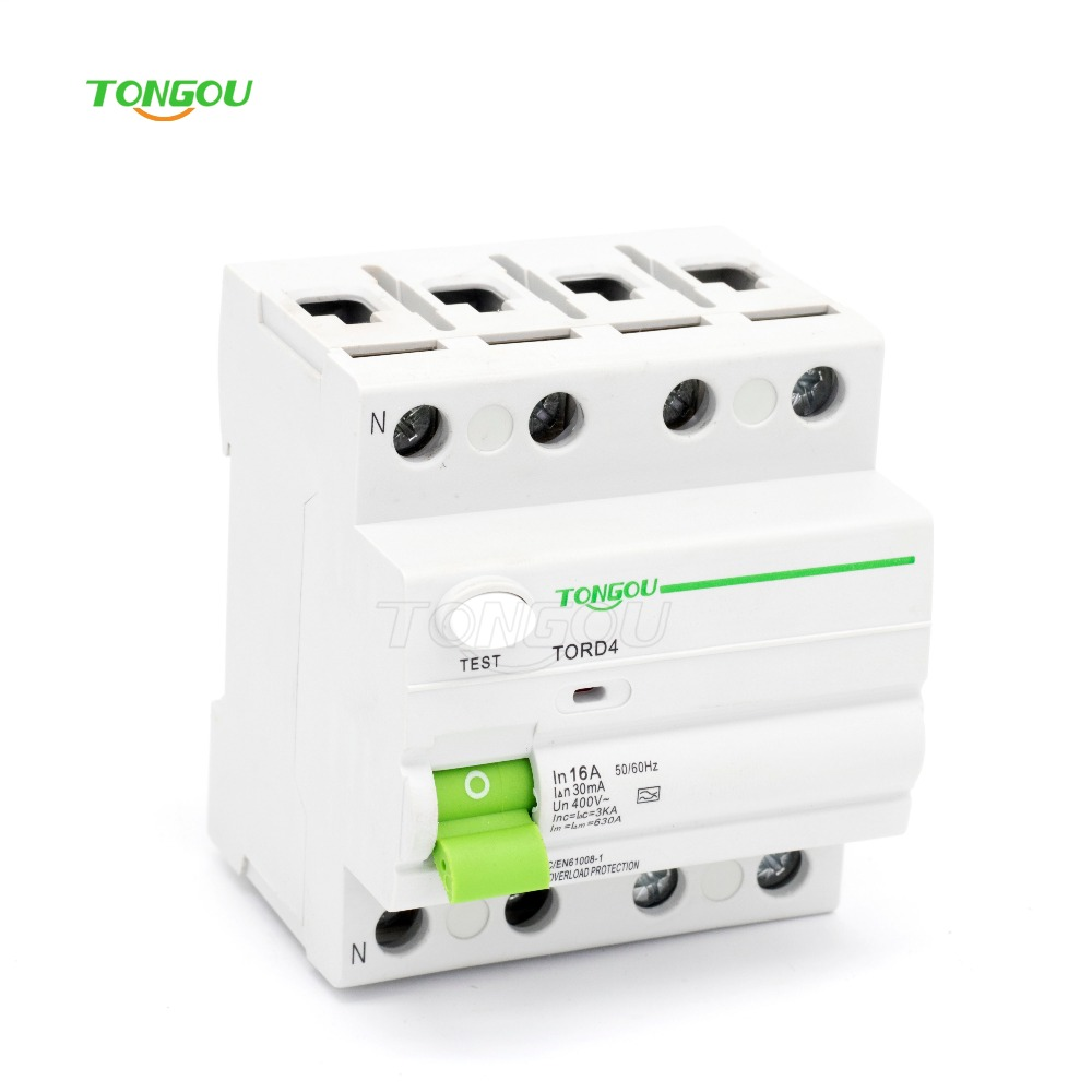 4P 16A 30mA 220V 380V AC Magnetic type Residual Current Circuit breaker RCD RCCB 400 amp 3 pole cm1 type moulded case type circuit breaker mccb