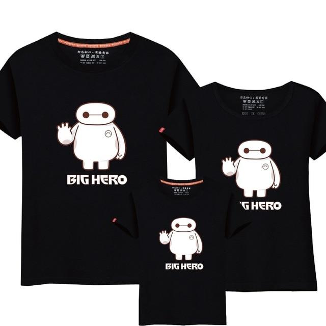 6283a2e527f 95% Cotton&5% Silk Big Hero 6 T-shirt Baymax Clothes Father Son Mother