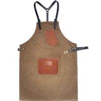 Brown Gray Long Canvas Apron W Leather Straps Barista Bartender Cafe Chef Uniform Barber Florist Carpenter
