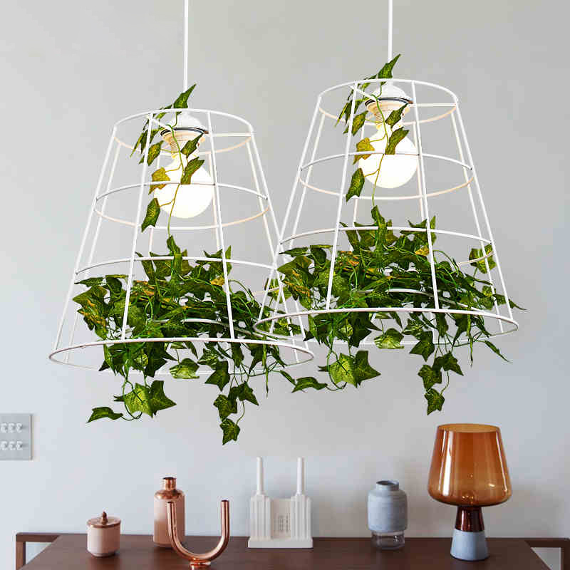Green Plant Pendant Light Nordic Country Hanging Pendant Lights Fixture Dining Room Restaurant Home Indoor Lighting Droplight