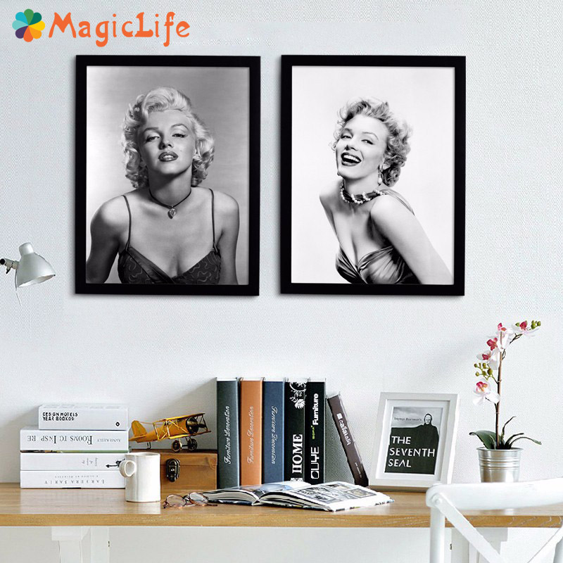 Marilyn Monroe Wall Art Canvas Painting Movie Poster and Prints Home Decor Black White Figure Unframed