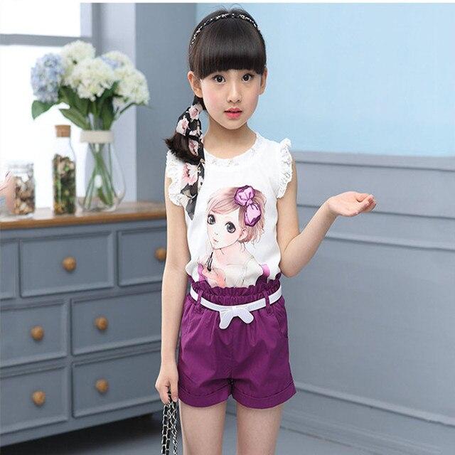 2017 New Girls Clothing Sets Summer Children T-shirt Vest + Short  Girls Suits Set fashion Children Girl Vlothes 2 Piece