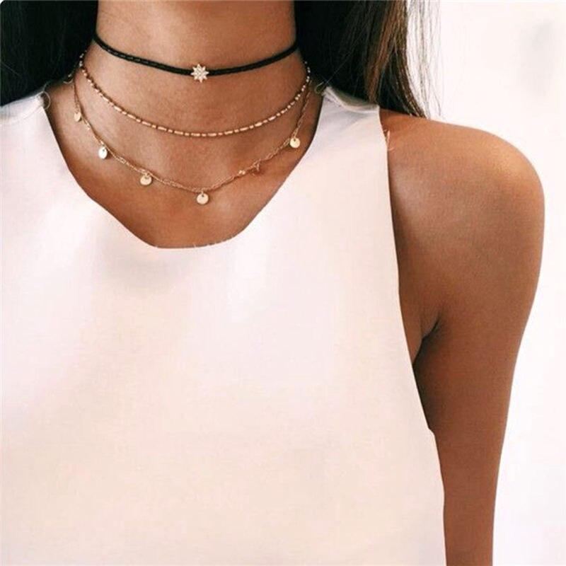 IF ME, винтажное многослойное ожерелье с кулоном из кристаллов, женские бусы золотого цвета, Лунная звезда, рога полумесяца, колье, ожерелье, ювелирное изделие, Новинка - Окраска металла: FDY329