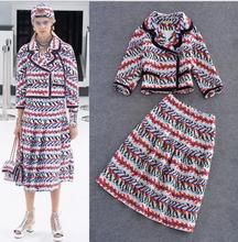2016 new winter high-end boutique Couture runway Plaid Wool Coat Color skirt suit