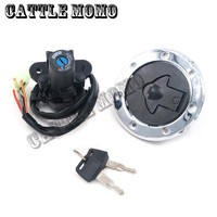 Ignition Key Switch Lock with Fuel Gas Cap Set For ZX 6R ZX 7R ZX 9R ZXR400 ZXR750 ZZR400 ZZR600