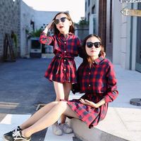 Spring Cotton Mommy And Me Clothes Plaid Print Mom And Daughter Dress Outfits Matching Mother Daughter