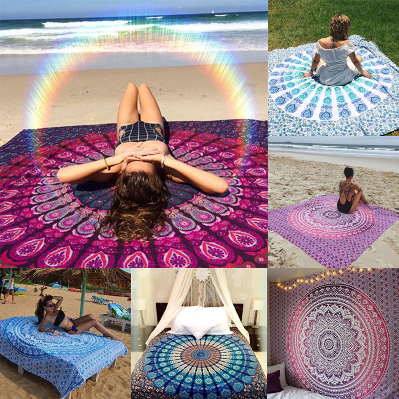 Hippie Round Mandala Tapestry Wall Hanging Indian Beach Throw Towel YogaMat Lace