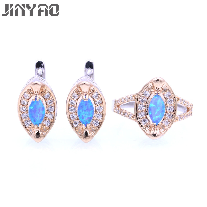 JINYAO Fashion Party Jewellery Set Gold Color Charming Multi-color Fire Opal &Zircon Earrings Ring Jewelry Sets For Women Gift charming solid color footprint cuff ring for women