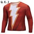 Q.E.JMarvel Superhero Deadpool Punisher Captain America T shirt Men Armour Long Sleeve Costume Under  2016  Fitness tshirt homme