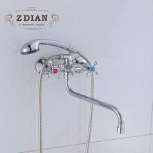 Новое поступление классический хромированный смеситель для душа Длинный Носик ванна кран цинк сливной кран Набор Ванна дождь смеситель для душа