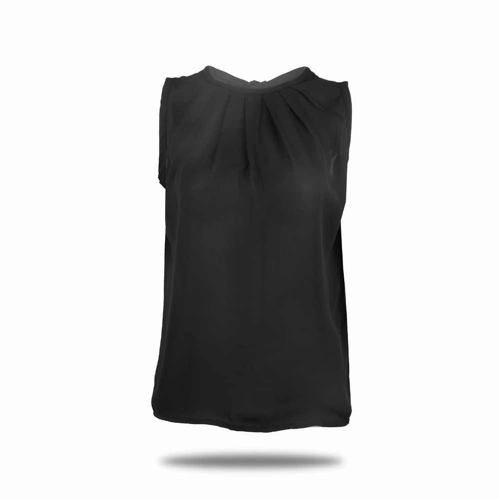 Damskie biały czarny topy bluzki bez rękawów czarna koszula bluzki O-Neck plisowana OL styl 2019 lato Hot Dropship Casual Harajuku