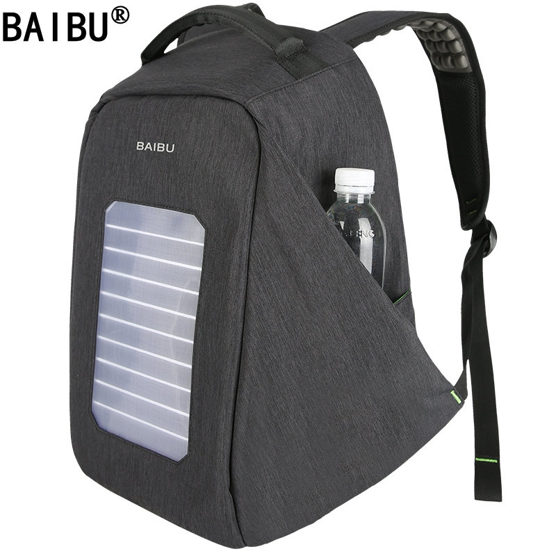 BAIBU NEW Solar USB Charge Backpack Men Anti-The Notebook Computer Waterproof Travel Bags Teenagers Men Women Fallow School Bags baibu men backpack usb charge notebook business 15 6 computer bag waterproof anti theft women travel school bags for teenagers