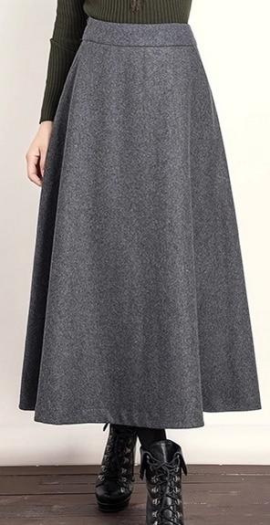 jupe gris deux 2015 longue couleurs noir mode laine et femmes nouveau yxynIH1T