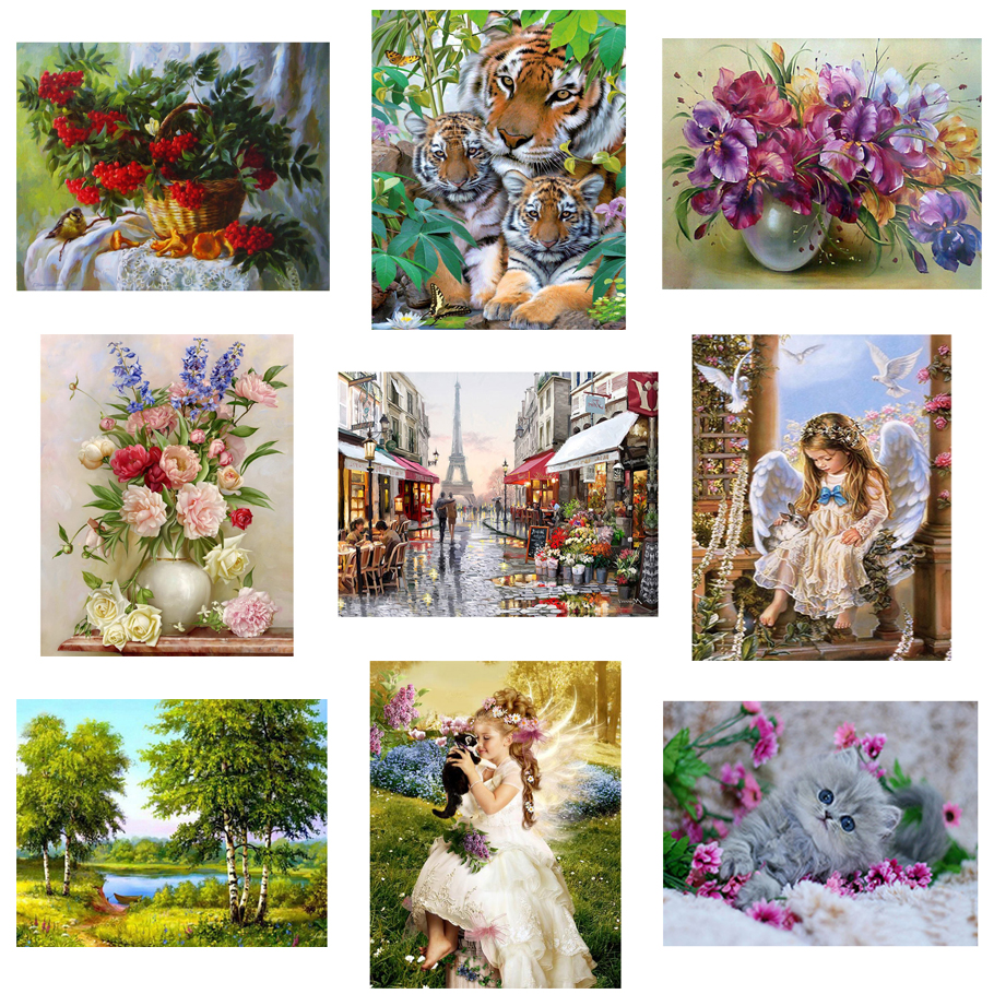 3d diy Diamond painting Cross Stitch kit Diamond Embroidery home decor flower animal landscape mosaic pattern picture 30X40CM