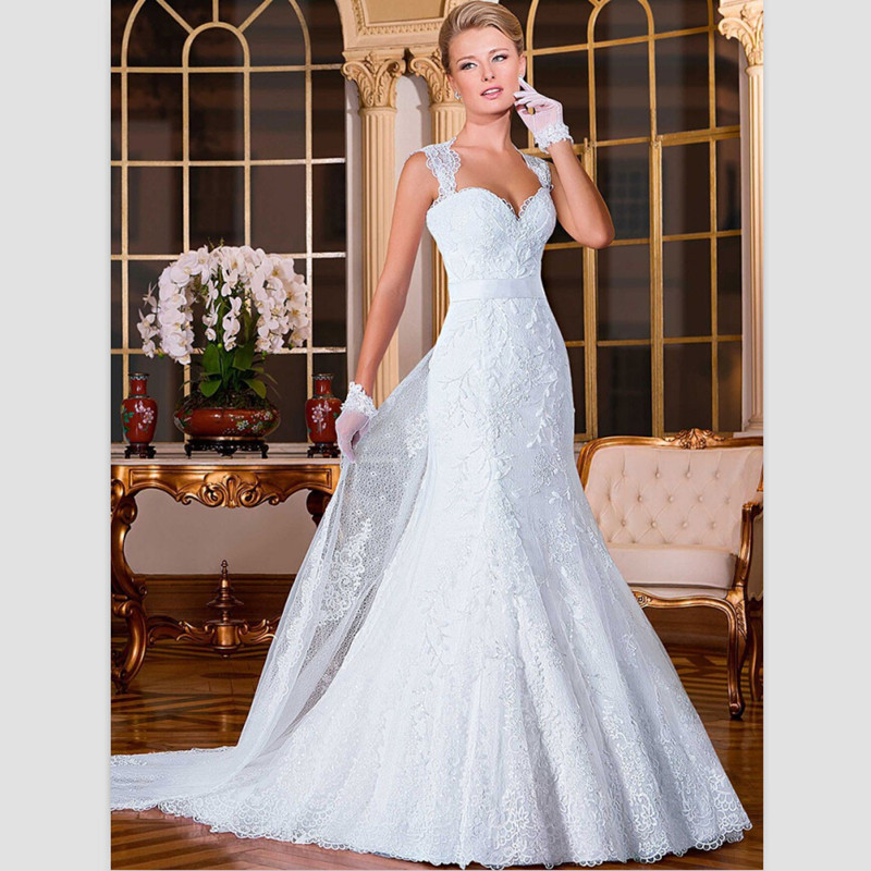 Wedding Dressing Gowns Personalised: 2015 Sexy White Lace Mermaid Wedding Dresses Custom Court