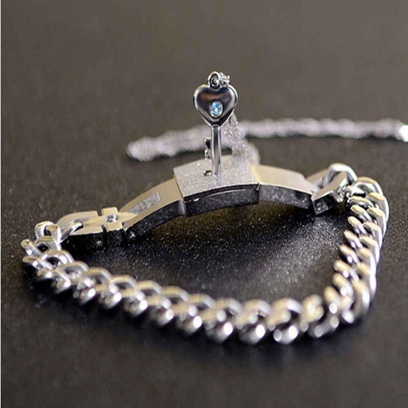 Hot Fashion Couple Titanium Steel Man Bangle Bracelet and Women Key Pendant Necklace Sets Love Gifts Summer Style