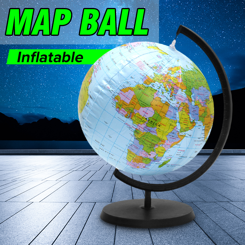цена на Inflatable World Globe Earth With Stand Teaching Geography Map Beach Ball Kids Educational Toy Miniatures office gadgets