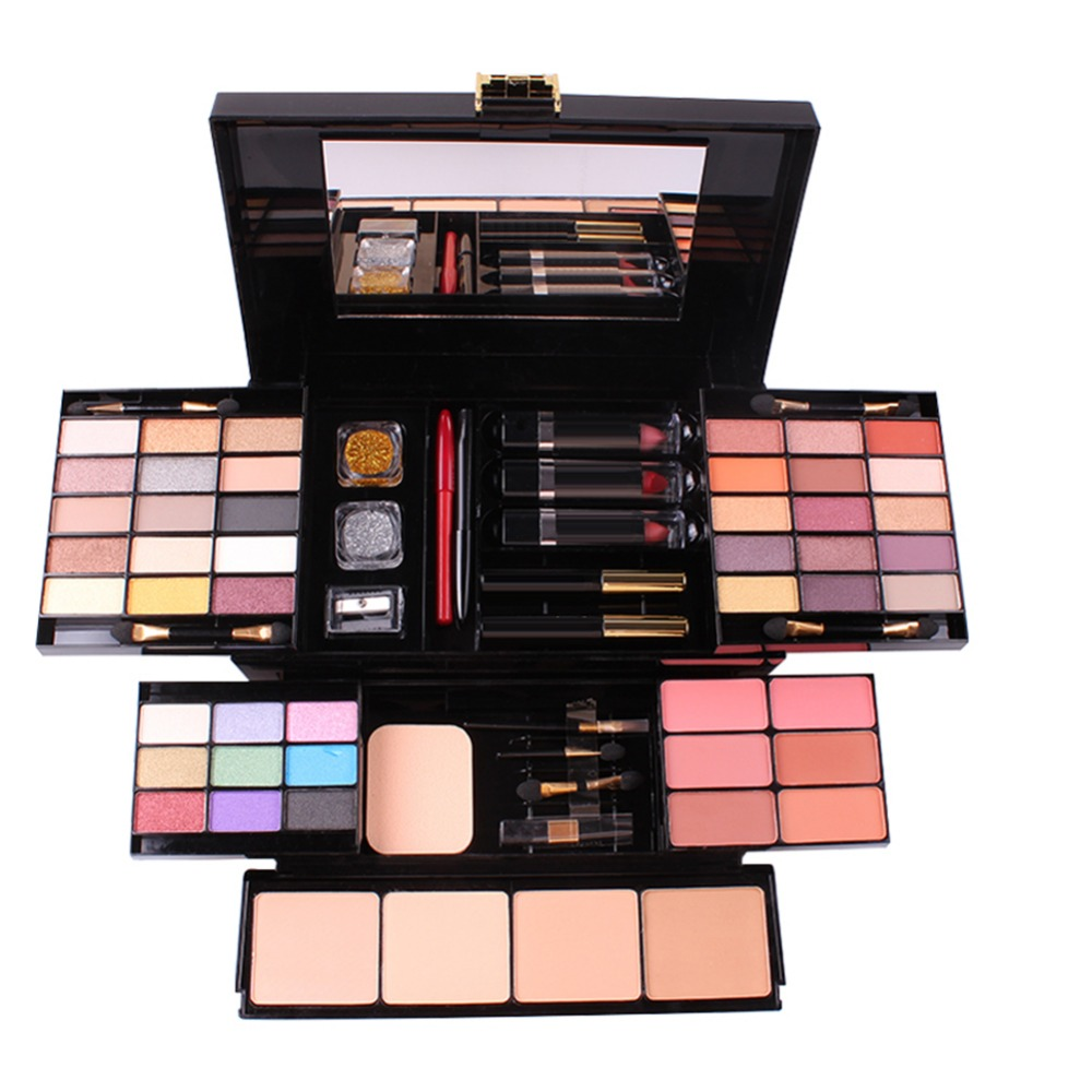 MISS ROSE Professional Makeup Set Box Matte Glitter Eyeshadow Powder Blush Women Multi-functional Palette Cosmetic Case #288903 fashion 10pcs professional makeup powder foundation blush eyeshadow brushes sponge puff 15 color cosmetic concealer palette