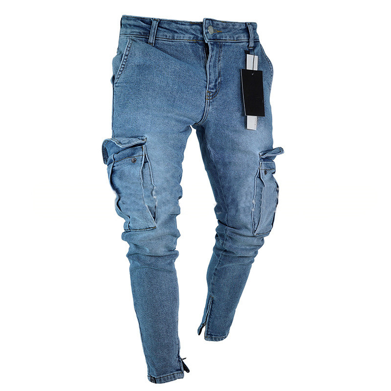 MORUANCLE Men Fashion Hi Street Jeans Pants With Big Pockets Streetwear Stretch Denim Trousers For Man Ankle Zipper Size S-3XL
